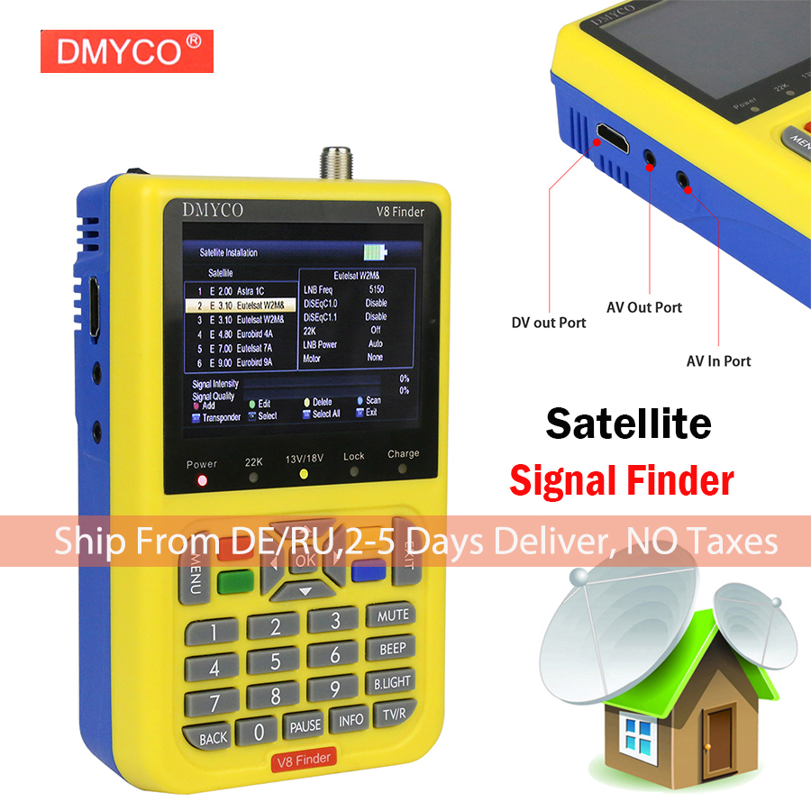 DMYCO V8 Finder DVB-S2 DVB-S FTA Digital Satellite SatFinder Meter HD Satellite Finder Tool TFT LCD Sat Finder lnb Signal Meter