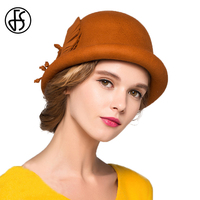 FS Winter Women 100% Woo Bowler Hat For Girls Felt Flowers Floppy Orange Beige Blue Pink Hats Chapeaux De Mariage Pour Femmes