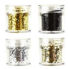 4 Boxes/ Set 10ml sliver gold Black glitter Powder, fine for jewelry diy ,Nail Glitter Powder shiny For nail art