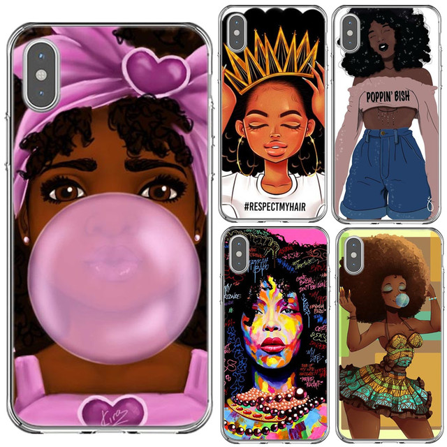 official photos 9897f 7aad0 Afro Black Girl Magic Melanin Phone Case For iPhone X XR XS MAX Soft  Silicone TPU Phone Cover For iPhone 5s SE 6 6s 7 8 Plus