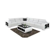 Cbmmart European Style White Leather Corner Sofa Bed