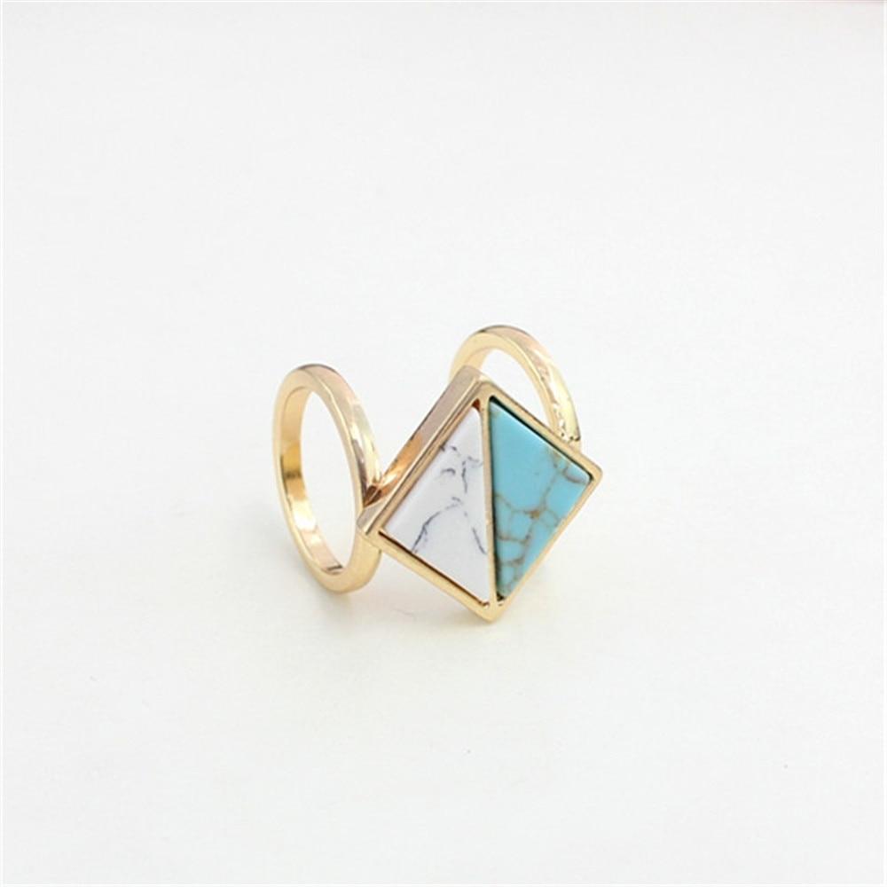 040f8e6b8345 Envío libre de Europa y el viento actuar el papel ofing triángulo MS  Blanco Verde artificial piedra geométrica Doble anillo