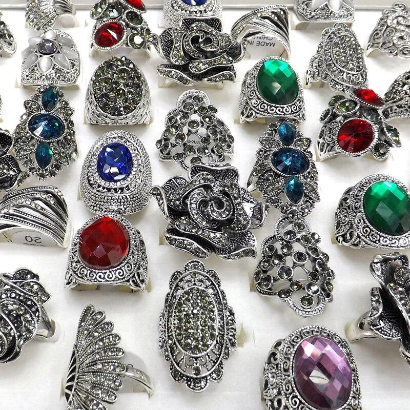 50 stücke Barock Stil Vintage Strass Ringe Blume Design Feder Design Freies Verschiffen-in Ringe aus Schmuck und Accessoires bei  Gruppe 1