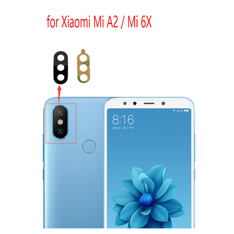 Glass-Lens Camera Back Xiaomi Mi A2 Repair-Spare-Parts Mi-6x-Replacement Rear 2pcs  title=