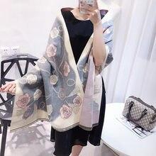 Femmes Automne Hiver Nouveau Cachemire Châle Camélia Classique chaud poncho  pashmina cape de luxe marque foulards 217004dc76e