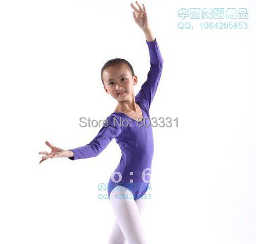 Purple Girls Long-sleeve Ballet Dance Leotards Kids Cotton Gymnastics Leotard Skate Dress SZ 3-8Y ! - dance dress store