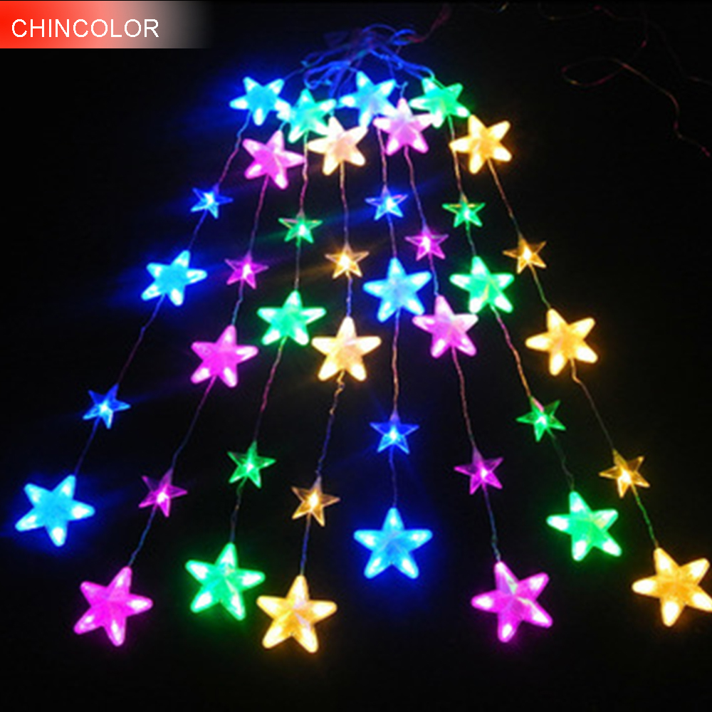 5M*1.1M 136Leds Holiday lights Stars curtain ice bars led Light string EU Plug fairy garland Christmas wedding Decoration DA