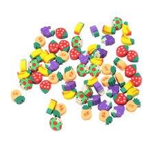 Gomme en forme de fruits délicieux Cuisine, 100 pièces, gomme en caoutchouc, matériel d'étude pour étudiants, papeterie outil d'apprentissage pour enfants, cadeaux chics