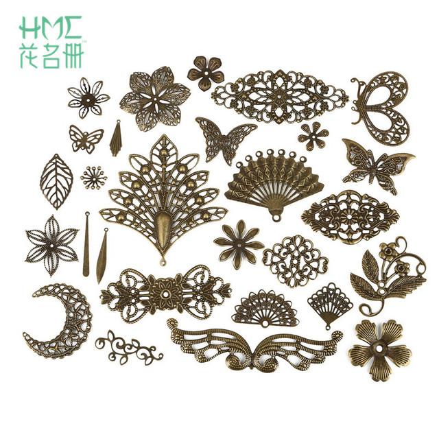 10pcs Moon Filigree Flower Wraps Antique Bronze Metal Crafts Connectors For DIY Embellishments Scrapbooking Jewelry Accessories