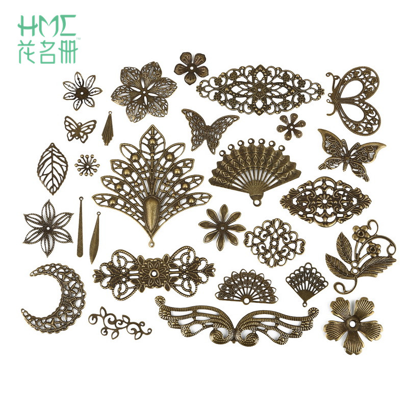 10pcs Moon Filigree Flower Wraps Antique Bronze Metal Crafts Connectors For DIY Embellishments Scrapbooking Jewelry Accessories