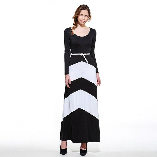 7da9a633e0 Clocolor Long Sleeve Dress Women Autumn Winter Office Las Black. 50 Athena Women  Black White Striped ...