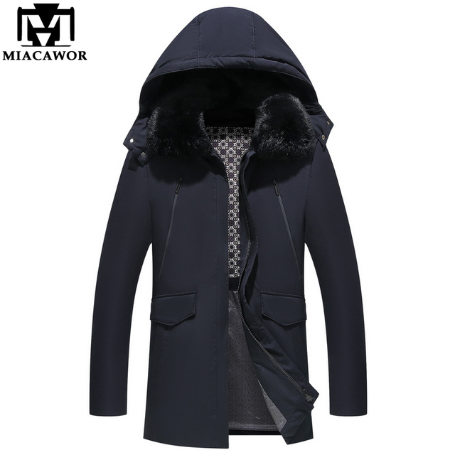 4f686322bc8 MIACAWOR New Winter Down Coats Men Hooded Thick Warm White duck Down Jacket  Business Casual Men Parka Fur Collar Jacket Man J554-in Down Jackets from  ...