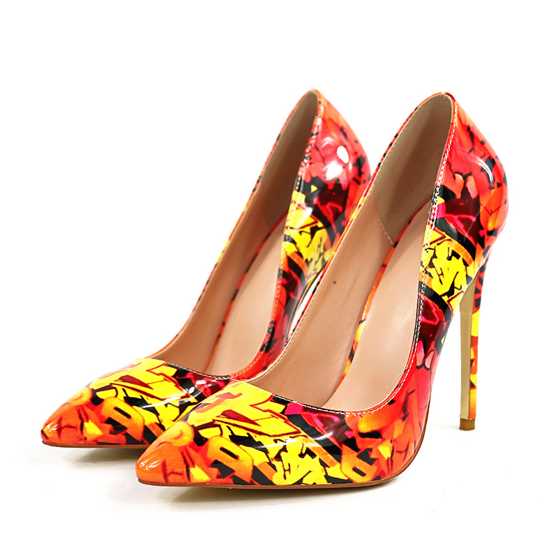 Oversized Size Woman Pumps Fashion Hoes Sexy Shoes Party Insole Super High-heeled High-end Pu Fashion Graffiti Printed Leaves