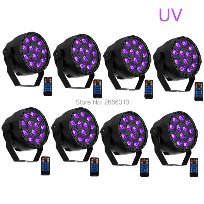8pcs/lot UV Led Stage light With Remote control 36W Ultraviolet Led par Light disco home party effect lighting Purple LED lamps