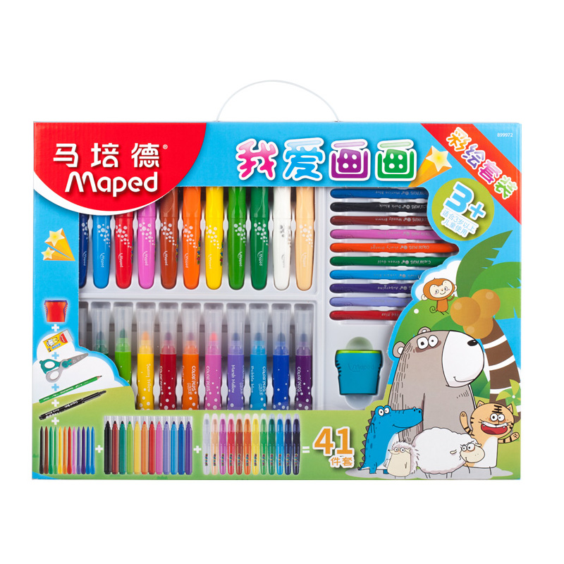 scribble scribble pen Maped Stationery set. I love drawing, nursery school, Baby painting, crayons, Christmas gifts цена