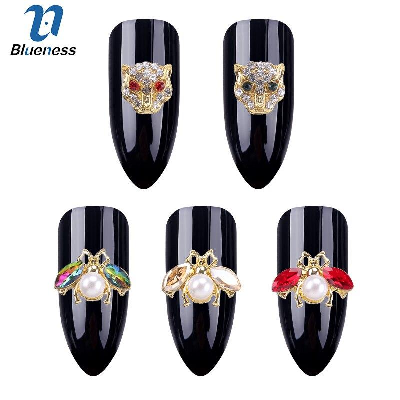 Bluenes 10pcs 3D Nail Art Decorations DIY Glitter Rhinestones Animals Alloy Pearl Studs Nails Design Nail Art Accessoires