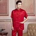 Vermelho Chinês de Cetim Dos Homens Camisa Gola Mandarim Camisa Tradicional Kung Fu Wu Shu Tai Chi Roupas S, M, L, XL, XXL, XXXL 2519-2