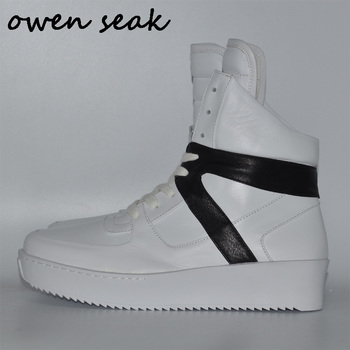Owen Seak Women Shoes Genuine Leather High-TOP Ankle Boots Luxury Trainers Boots Casual Lace-up Spring Flats Black Shoes