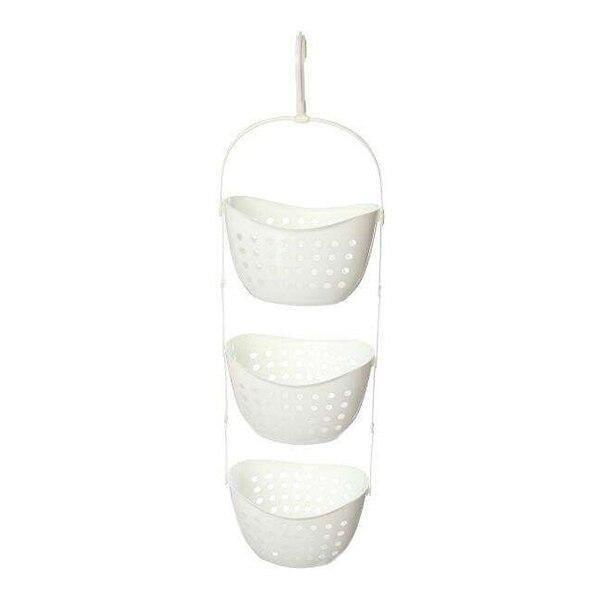 3 Tier Plastic Basket Shower Caddy Hanging Rack Tidy Shelf Organiser Storage,White