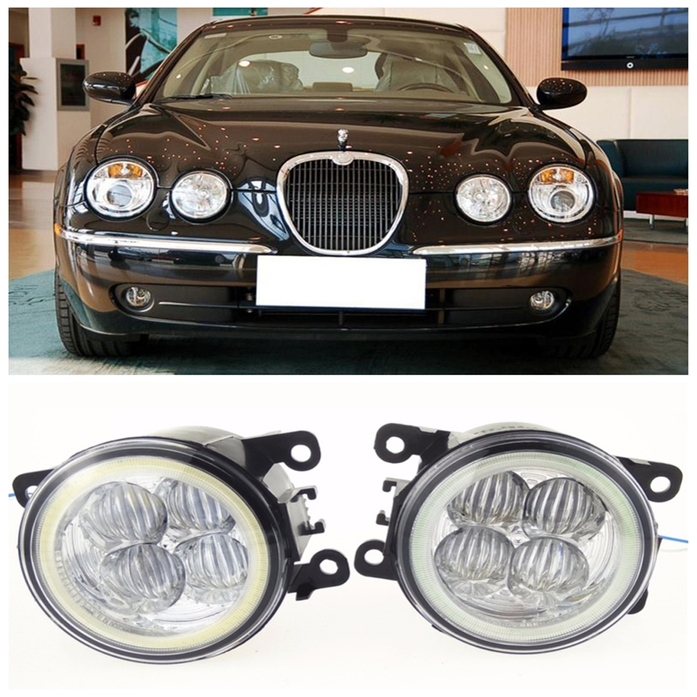 For JAGUAR S-Type CCX Saloon  1999-2008 10W high brightness LED Angel eyes fog lights Car styling fog lamps car styling front bumper led fog lights high brightness drl driving fog lamps 1set for jaguar s type x type 2004 2006 2008