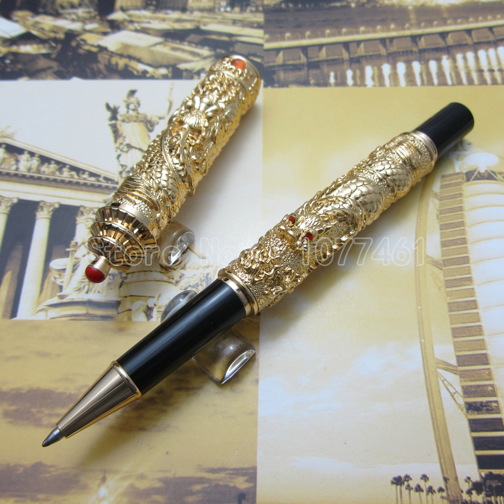 Jinhao Chinese double Dragons Playing With The Pearl and Guta Roller ball Pen with Gift Box Gold White Silver Optional JR3L22 egglestonworks the andra iii pearl white