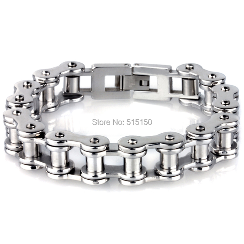 11MM Width 8.86 long Best Selling Silver Bycycle Chain 316L Stainless Steel Christmas Gift Strong Mens Bracelet Bangle