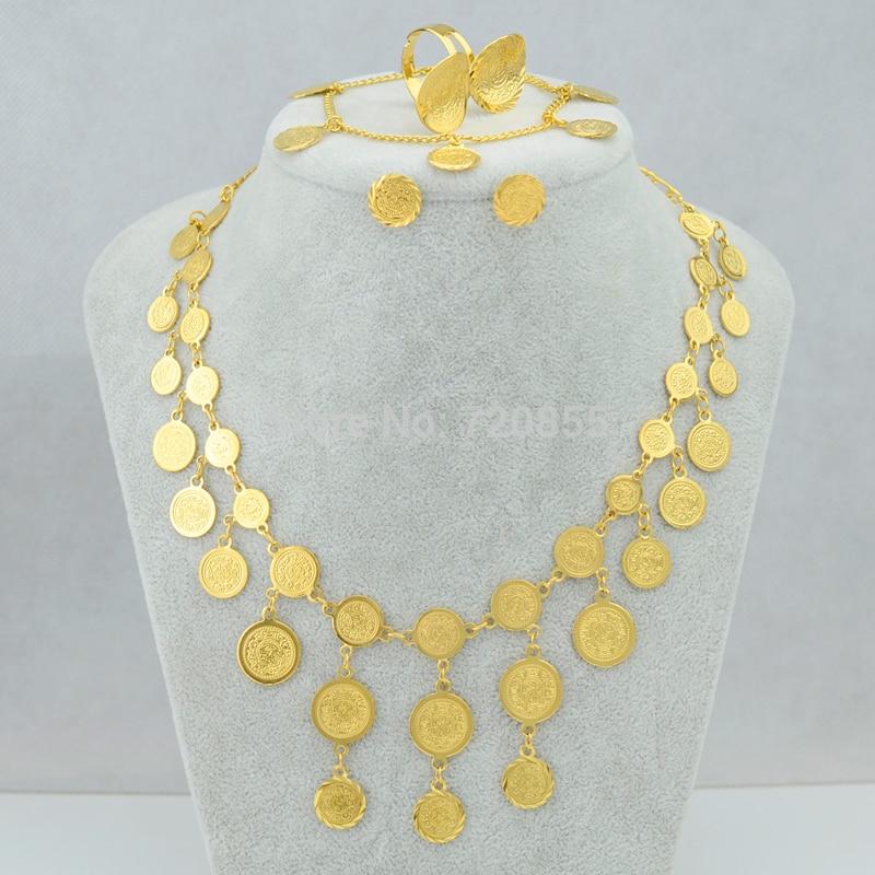 Muslim Eye Shape Pendant Necklace 18K GP Vintage Allah Mark Ramadan Jewelry Gift