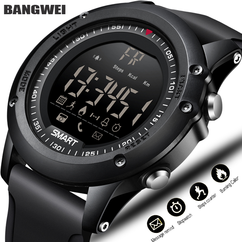 BANGWEI Sport font b Smart b font Watch Men Multifunction Digital Clock Bluetooth Pedometer IP68 Waterproof