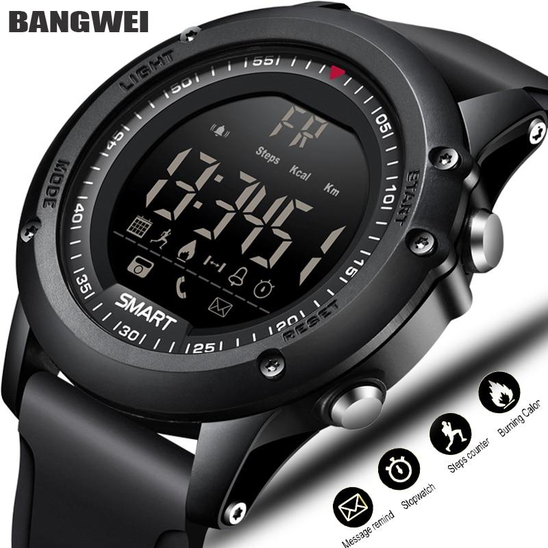 BANGWEI Sport font b Smart b font Watch Men Multifunction Digital Clock Bluetooth Pedometer IP68 Waterproof