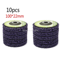 10pcs Abrasive Tools 100*22mm Poly Strip Wheels Paint Rust Removal Clean Angle Grinder Discs Purple