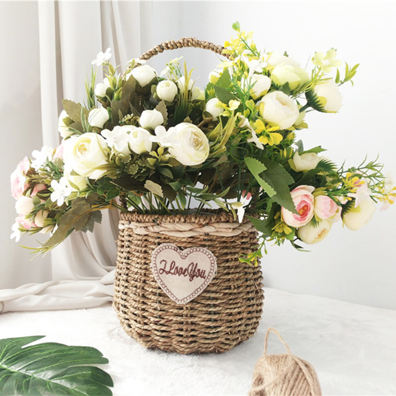 Bride Flores Wedding Mini Bouquet Real Touch Tea Rose Artificial Silk Flower Leaf Home Decoration Fake Peony Flowers