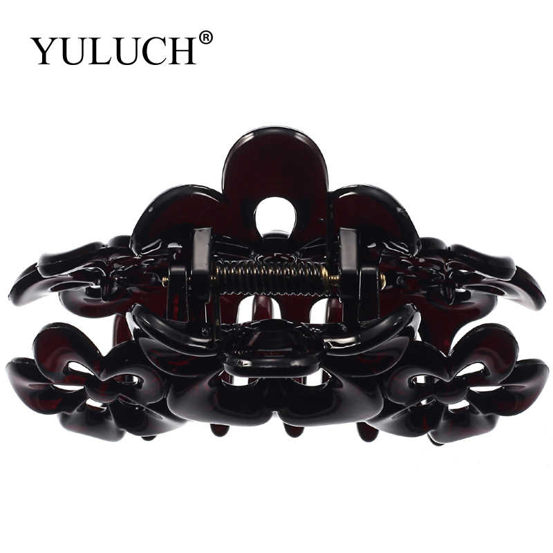 YULUCH Large Size Beautiful Flowers Hair Claw Clip Girl Black/Gold Acrylic Big Hairpin Claws Headware For Women/Ladies Jewelry