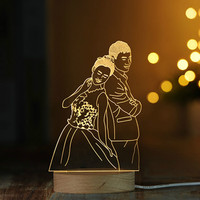 LED 3D lamp wood base Couples series graphics Acrylic board bedroom decoration gift for Valentine's Day Wedding IY804016 21