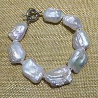 Rectangle shape NEW larger size keshi or irregular stely freshwater pearls bracelet jewelry white nice for women party