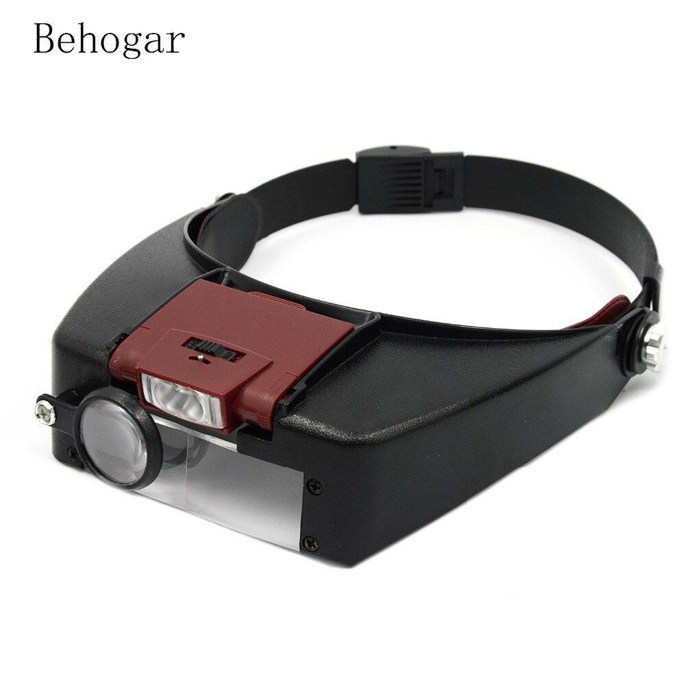 Behogar Loupe Microscope Helmet Magnifier Glass Magnifying Glasses vergrootglas Lupas Con Luz LED light Reading or Repair Use