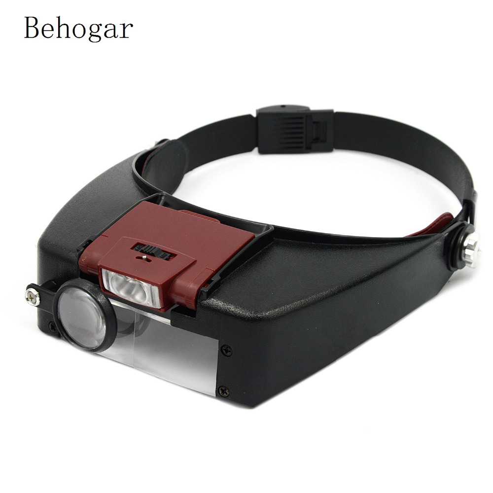 Behogar Loupe Microscope Helmet Magnifier Glass Magnifying Glasses vergrootglas Lupas Con Luz LED light Reading or Repair Use