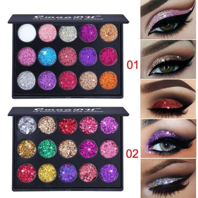 EE. UU. Envío Gratis 15 colores diamante brillo sombra de ojos paleta impermeable brillo sombra de ojos pigmentos maquillaje paleta Kits