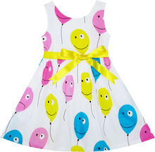 Sunny Fashion Girls Dress Colorful Smiley Face Balloon Flying to Sky Cotton 2018 Summer Princess Wedding Party Dresses Size 2-6(China)