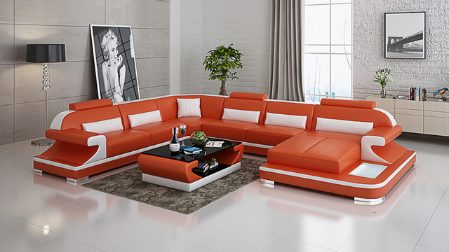 Modern European Style Genuine Leather Sofa Set For Living Room