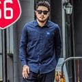 Fashion High Quality 2XL-7XL Casual Shirts Plus Size Men Autumn Cotton Shirt Solid Blue Loose Long Sleeve Turn Down Collar Shirt