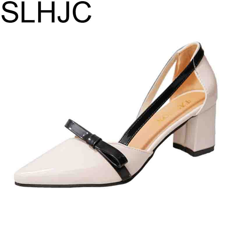 SLHJC Summer Fashion Rivet Pumps Pointed Toe High Heel Leather Sandals All Match Women Square Heel Shoes xiaying smile summer women sandals casual fashion lady square heel slip on flock shoes pointed toe cover heel lace bowtie shoes