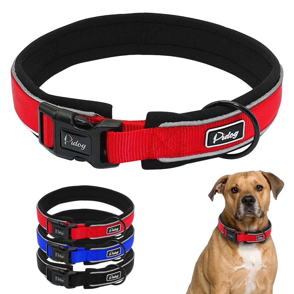 Регульований комфорт товстий м'який нейлон собака комір світловідбиваючий для малих середніх великих порід синій червоний чорний M M XL  t
