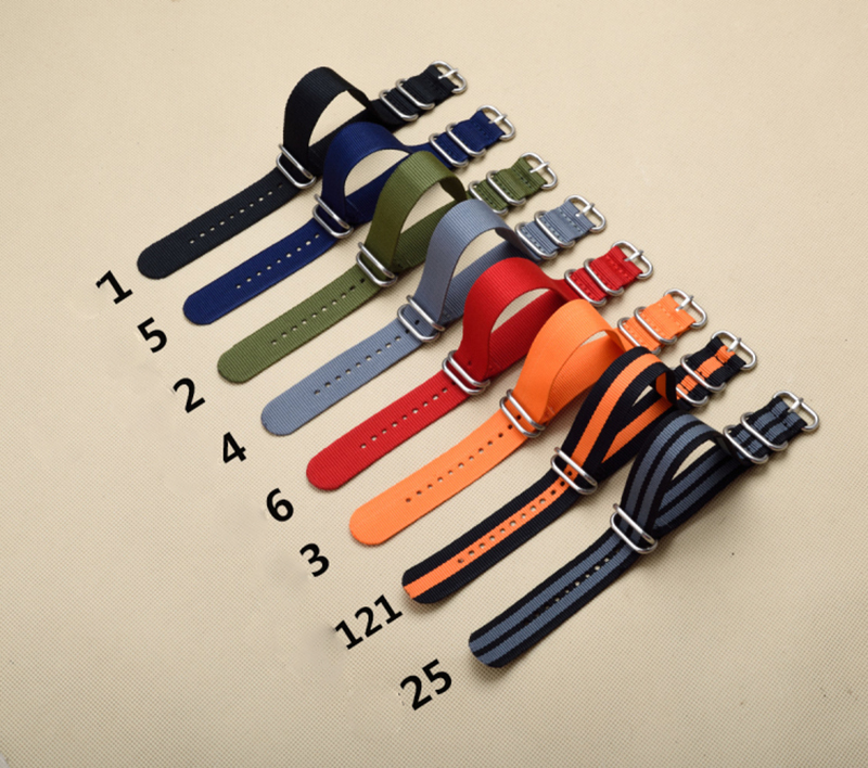 New 5 Ring Watchband Military Quality Nylon ZULU NATO 20mm 22mm 24mm <font><b>G10</b></font> <font><b>Watch</b></font> Strap Black Multiple color selection image