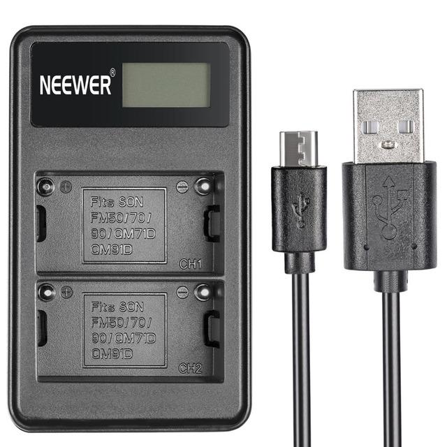 Neewer usb duplo carregador de bateria para sony np-f550 bateria recarregável + carregador fm500h fm50 baterias camcorder rápida portátil display led