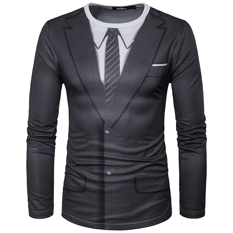 2018 New Men Long Sleeve T-Shirt O Neck Man Udskrivning Falsk Suit - Herretøj - Foto 5