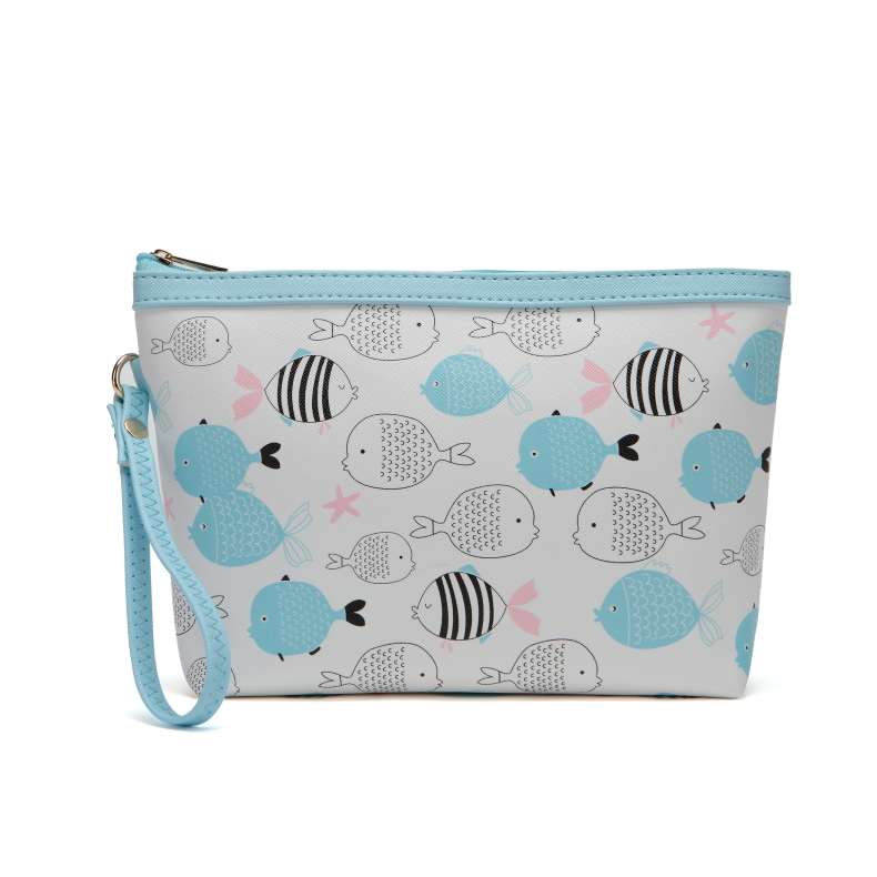 cartoon one big fish  pattern blue Cosmetic Bag dorable style organizer for women girls  bags for women cosmetic bag