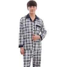 Autumn Men Pajama Sets Long Sleeve Plaid Cardigan Cotton Pajamas Casual Sleepwear Pyjamas Plus Size XXXL Winter Male Pajama Suit