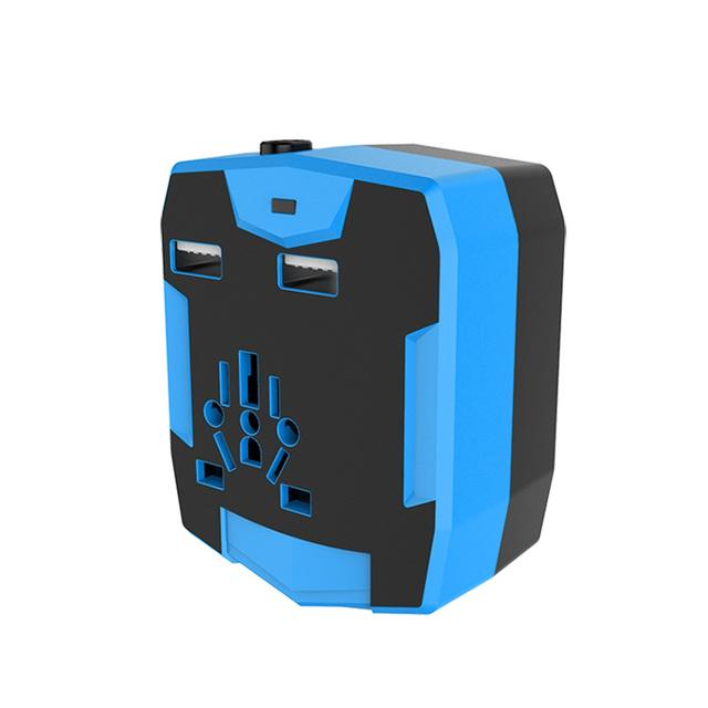 Conversor Adaptador de Viagem Universal Com 18650 Bateria 3000 Mah Banco de Potência Dupla USB Bateria Externa Carregador UA REINO UNIDO EUA UE plugue