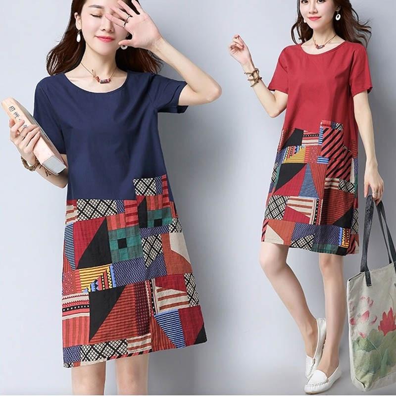 Summer Women Lady Girl Dress Printing Short Sleeve O-neck Casual Medium Length Summer Clothing FS99