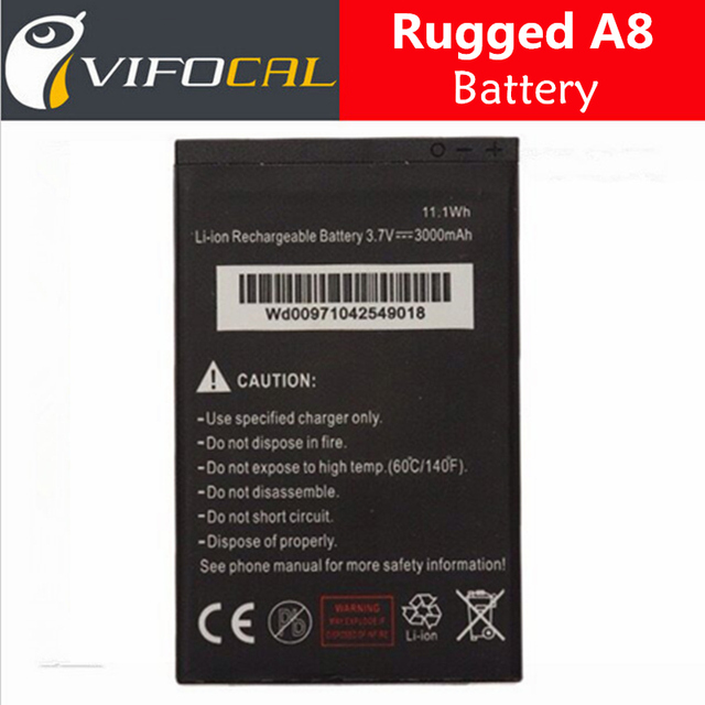 Waterproof Rugged A8 battery 3000mAh Original Replacement For ALPS A8 Tir-proof Smartphone
